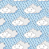 Doodle hand drawn seamless pattern with cute clouds. Funny vector background Royalty Free Stock Photos