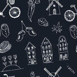 Doodle hand drawn seamless pattern Holland icons. Netherlands culture elements for design. Vector illustration travel Stock Photography