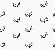 Doodle Hand Drawn Seamless Patterns with Deers Stock Photos