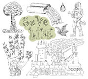Doodle hand drawn set with eco icons and symbols 2. Doodle set with pollution, dirty factory, text and eco icons. Hand drawn line art symbols and illustrations Stock Photos