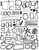 Doodle, hand drawn shapes, line, circle, triangle Royalty Free Stock Photos