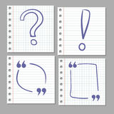 Doodle hand drawn signs on notebook page. Stock Photography