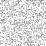 Doodle hand drawn town seamless pattern. Stock Photography