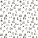 Doodle hand drawn town seamless pattern. Royalty Free Stock Photography