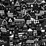 Doodle hand drawn town seamless pattern. Royalty Free Stock Images