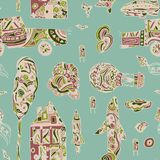 Doodle hand drawn town seamless pattern. Pastel abstract wallpaper. Vector illustration for your cute design. Car, house, plane, balloon, rocket Royalty Free Stock Photo