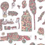 Doodle hand drawn town seamless pattern. Pastel abstract wallpaper. Vector illustration for your cute design. Car, house, plane, balloon, rocket stock illustration