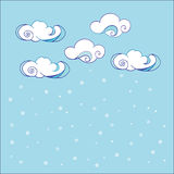 Doodle Hand Drawn Vector by Clouds. Abstract Cloud Background. Royalty Free Stock Image
