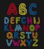 Doodle hand drawn vector color alphabet Royalty Free Stock Photography