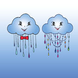 Doodle Hand Drawn Vector of Mr. and Mrs. Cloud. Stock Image