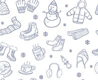 Doodle hand drawn of winter elements and objects seamless pattern. Royalty Free Stock Image