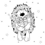 Doodle hand drawn xmas hedgehog with gift box. Royalty Free Stock Photography
