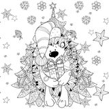 Doodle hand drawn xmas hedgehog with gift box. Zentangle doodle hand drawn christmas hedgehog with gift box on white background with fir tree. Christmas vector Stock Image