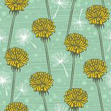 Doodle hand drawn dandelion flowers on blue. Vector seamless minimalistic pattern. Endless pattern for wallpaper Royalty Free Stock Photography