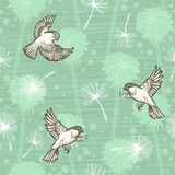Doodle hand drawn dandelion flowers and flying birds on blue. Vector seamless minimalistic pattern. Endless pattern for Royalty Free Stock Photo