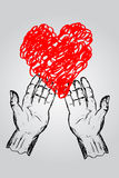 Doodle Hand - Give A Heart Stock Photography