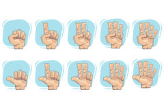 Doodle Hand Number Sign Icons Stock Photo