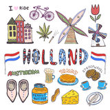 Doodle hand sketch collection of Holland icons. Netherlands culture elements for design. Vector colorful illustrations Royalty Free Stock Images