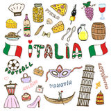 Doodle hand sketch collection of Italy icons. Italy culture elements for design. Vector color sketches travel set. Handwriting Ita Royalty Free Stock Photos