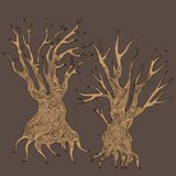 Doodle handdrawn stylized dead trees. Illustration of doodle handdrawn stylized dead trees Stock Photo