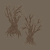 Doodle handdrawn stylized dead trees. Illustration of doodle handdrawn stylized dead trees Royalty Free Stock Images