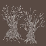 Doodle handdrawn stylized dead trees. Illustration of doodle handdrawn stylized dead trees Royalty Free Stock Photos