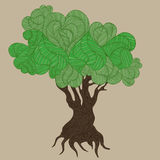Doodle handdrawn stylized trees with hearts Royalty Free Stock Photos