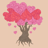 Doodle handdrawn stylized trees with hearts Stock Images