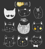 комплект doodle котов милый Кот эскиза Печать кота handmade Стоковое Фото