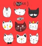комплект doodle котов милый Кот эскиза Печать кота handmade Стоковое фото RF
