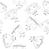 Doodle handmade kids seamless pattern Royalty Free Stock Image