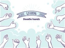 Doodle hands like dislike. Happy client hand drawn concept, thumb up and disagree business sketch. Vector customer vector illustration
