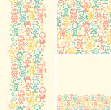 Doodle happy children seamless pattern background Royalty Free Stock Images