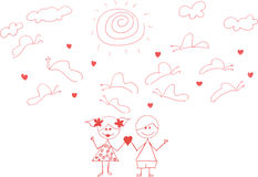 Doodle happy couple Royalty Free Stock Images
