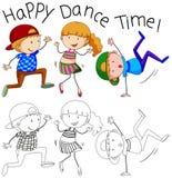 Doodle happy dancer character stock illustration