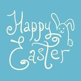 Doodle Happy Easter logotype with funny rabbit. White handwritten Happy Easter logotype with funny rabbit on blue background. Cute comic lettering Happy Easter Stock Photo