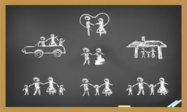 Doodle happy family on blackboard. Hand drawing doodle family on blackboard Royalty Free Stock Images