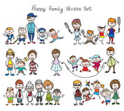 Doodle happy family sketch Royalty Free Stock Image
