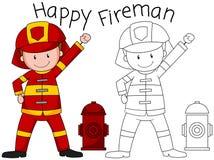Doodle happy fireman character. Illustration stock illustration