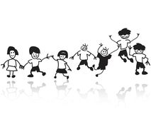 Doodle happy kids in a row. Isolated doodle happy kids in a row from white background stock illustration