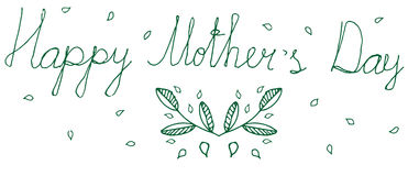 Doodle Happy Mothers green isolated floral greeting Royalty Free Stock Photo