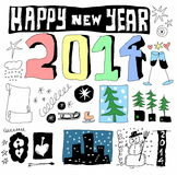 Doodle happy new year 2014. Background Royalty Free Stock Photo