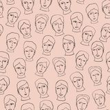 Doodle Head Faces Sketchy Seamless Pattern, Black Line Art Vector vector illustration