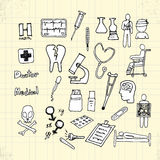 Doodle Health and Medical on Paper Royalty Free Stock Photos