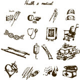 Doodle health and medical set Stock Photography