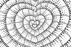 Doodle heart background. Black and white Royalty Free Stock Images