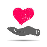 doodle heart in flat hand icon Royalty Free Stock Photos