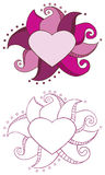 Doodle Heart Frame. With outline Royalty Free Stock Photo