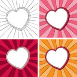 Doodle heart frame with sunbeam radial background. Easy to edit. Background and frame are separate illustrations. Four doodle frames with sunbeam radial Stock Image