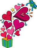 Doodle Heart Gift Explosion. Heart doodles bursting out of a gift box royalty free illustration